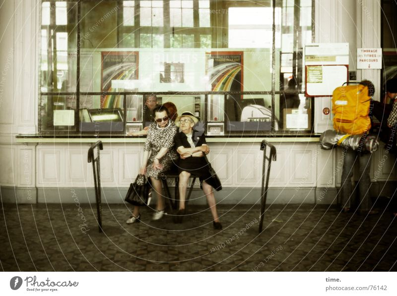 Two to Toulouse Colour photo Subdued colour Interior shot Vacation & Travel To talk Woman Adults Female senior Senior citizen Train station Station hall Funny