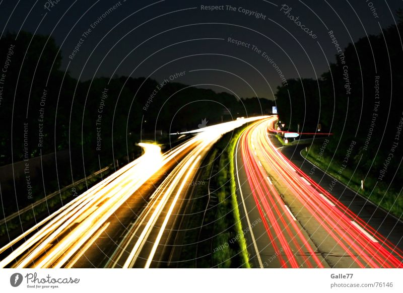 night trips Night Dark Light Long exposure Backward Vacation & Travel White Red Stripe Highway South there Street North Contrast Lamp