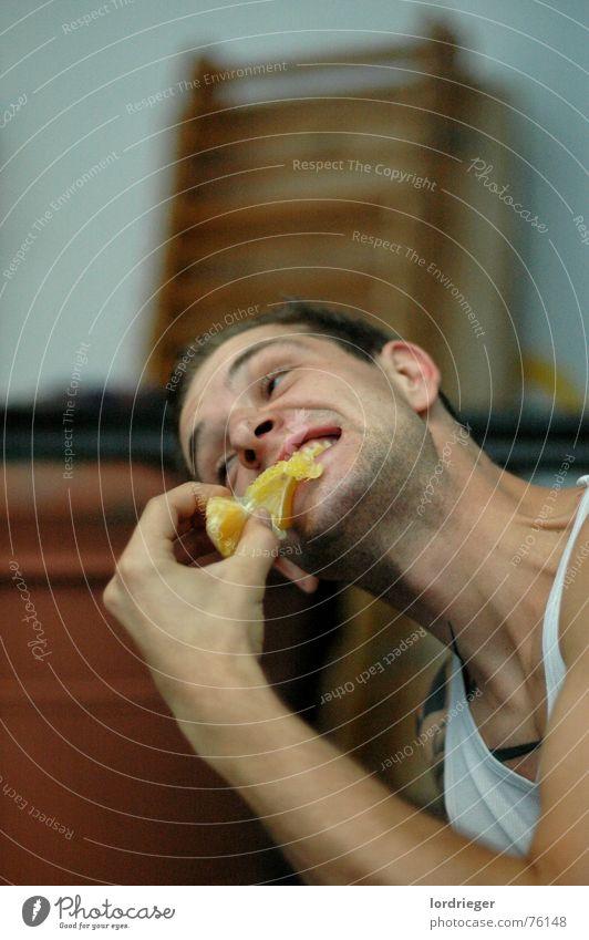 the orange food Orange Masculine Nutrition Human being Anger Movement Eating