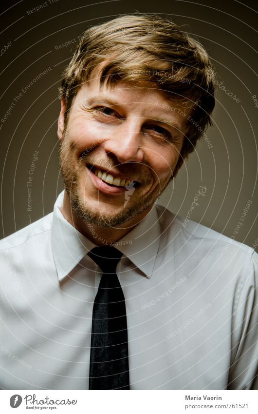 smile Style Business Human being Masculine Man Adults 1 30 - 45 years Shirt Tie Facial hair Designer stubble Smiling Laughter Reliability Joy Happy Happiness