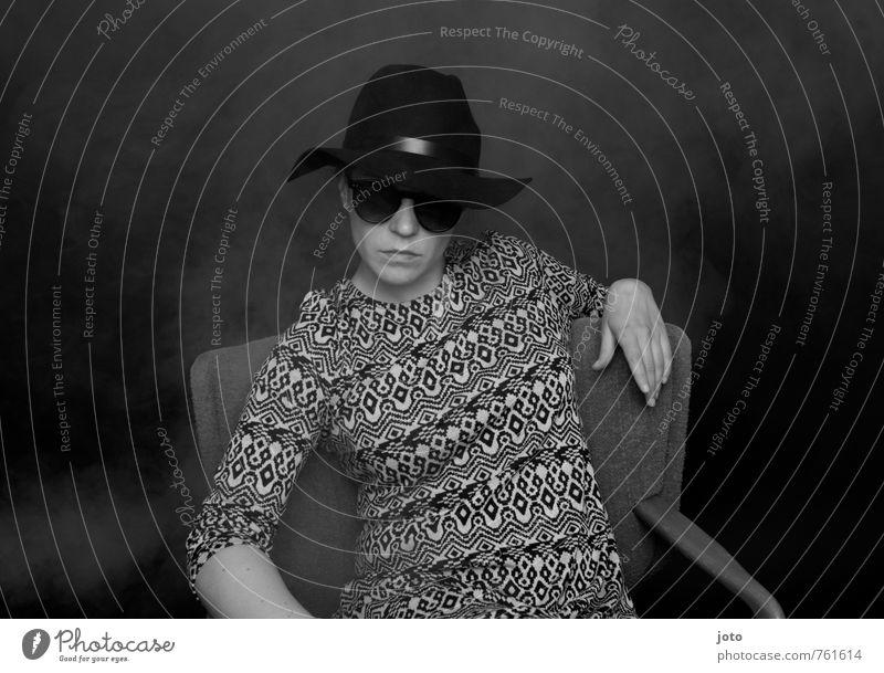 Beautiful Calm Dark Fashion Fog Gloomy Sit Wait Threat Cool (slang) Serene Hat Watchfulness Sunglasses Identity Earnest