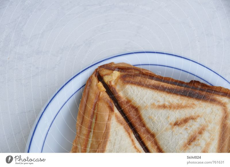 Toast on the plate Food Bread Nutrition Breakfast Plate Healthy Eating Fragrance Sharp-edged Delicious Brown Joie de vivre (Vitality) Appetite roasted Triangle