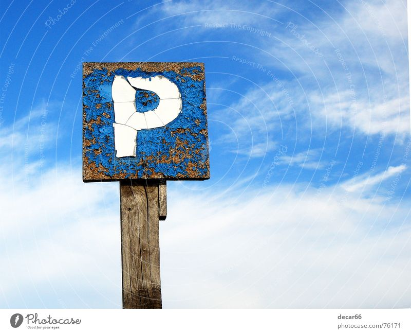 sky parking Sky Route 66 Jump Wood flour Signage sign car road weathered cloud clouds blue deteriorated space copy copyspace