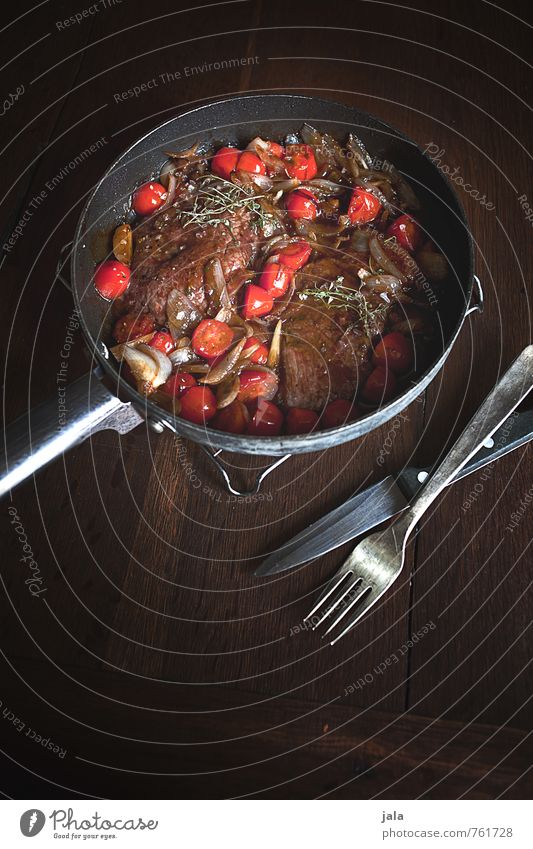 Food Nutrition Vegetable Delicious Appetite Meat Lunch Tomato Cutlery Wooden table Onion Pan Steak