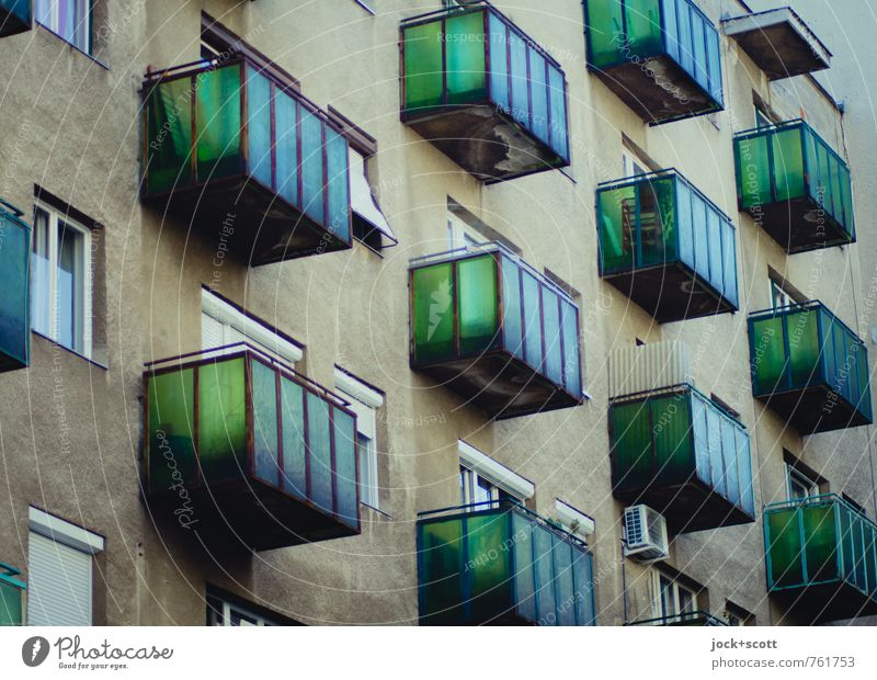 green facade City Green House (Residential Structure) Window Architecture Style Brown Facade Authentic Perspective Retro Culture Many Past Balcony Transparent