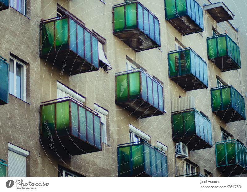green facade City trip Architecture Budapest Town house (City: Block of flats) Building Facade Balcony Window Air conditioning Sharp-edged Original Retro Many