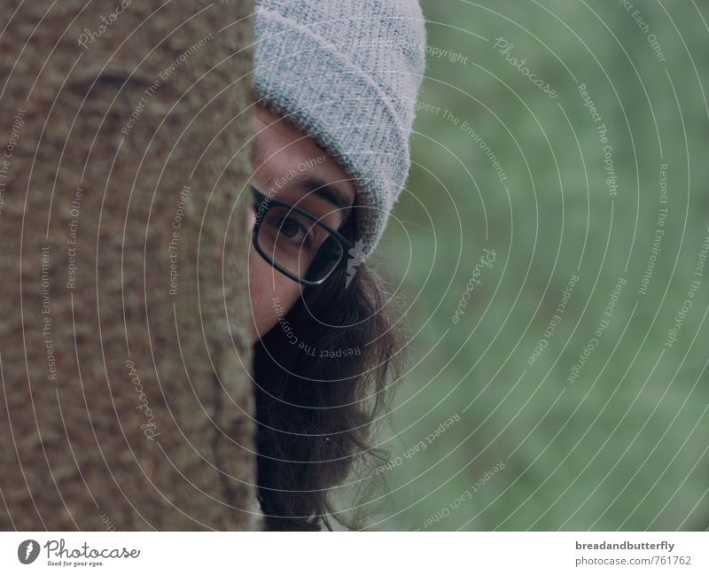 Human being Youth (Young adults) 18 - 30 years Young man Forest Adults Playing Masculine Observe Eyeglasses Curiosity Cap Brunette Long-haired