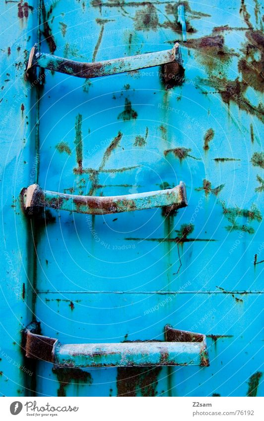 Blue Going Stairs Climbing Trash Trashy Rust Ascending Ladder Container Light blue Dispose of Throw away