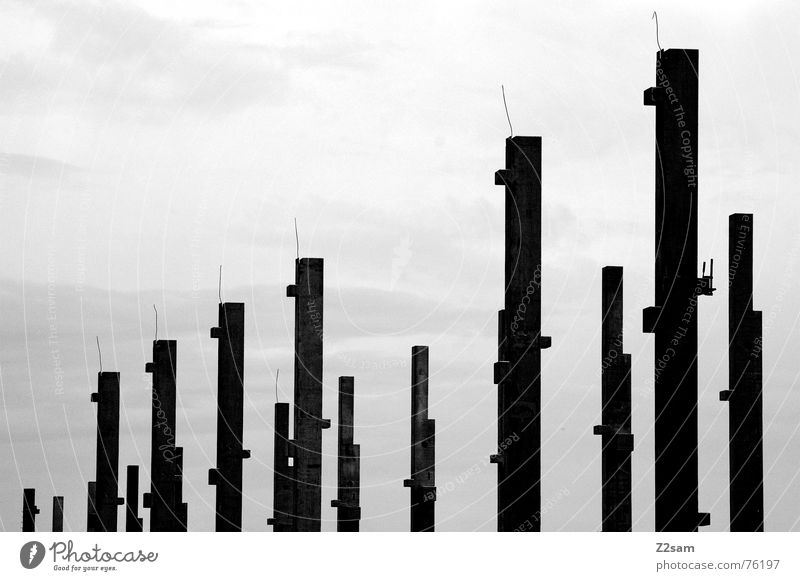 two series Long Sky 2 Construction site Row row and member put up Pole Scaffold Metal Black & white photo Multiple