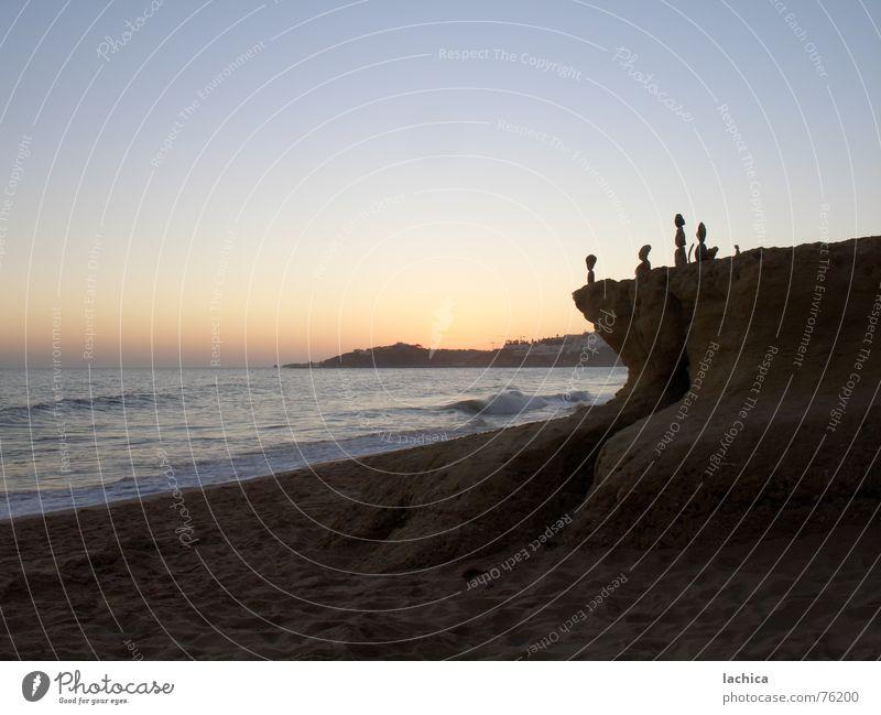 pebbles Sunset Sunrise Ocean Vacation & Travel Beach Waves Romance Physics Dark Summer Portugal Algarve Sky Sculpture Art Coast Stone Blue Sand Warmth Happy sea