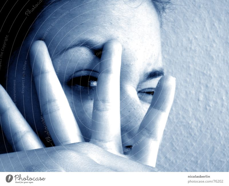 Woman Hand Youth (Young adults) Beautiful White Blue Joy Face Calm Black Eyes Fingers Peace Lie (Untruth)