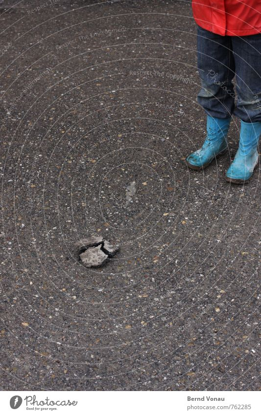 three-piece Broken Stone Child Rubber boots Bad Weather Exterior shot Day Asphalt Crack & Rip & Tear Part Division Stony Jeans Pants Stand Looking Ground Under