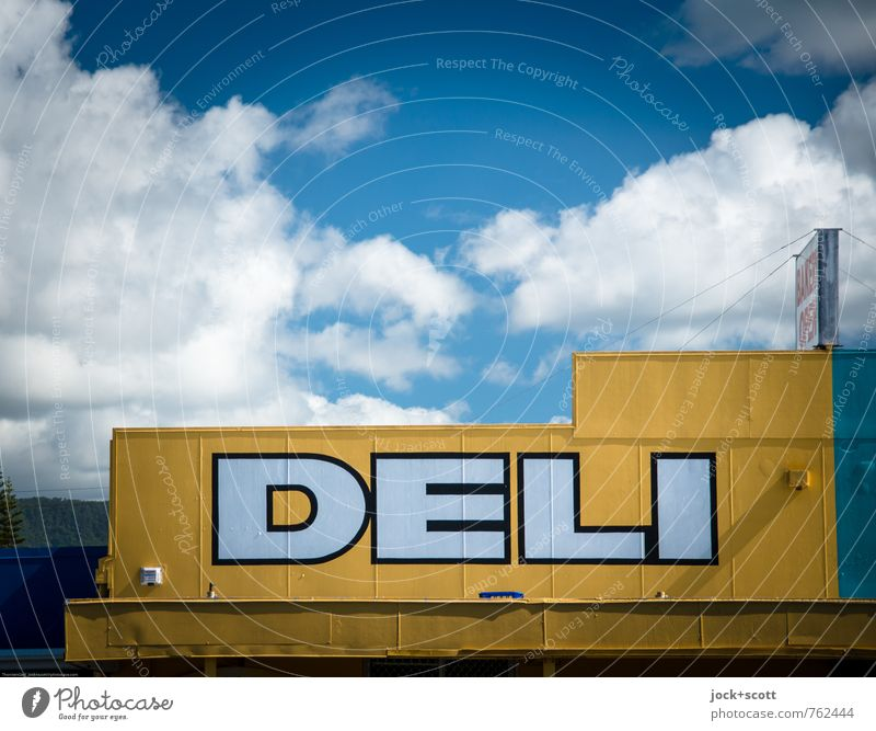Delicatessen Shop Nutrition Delicacy Trade Sky Clouds Beautiful weather Store premises Advertising Canopy Word Authentic Exotic Original Yellow Hospitality
