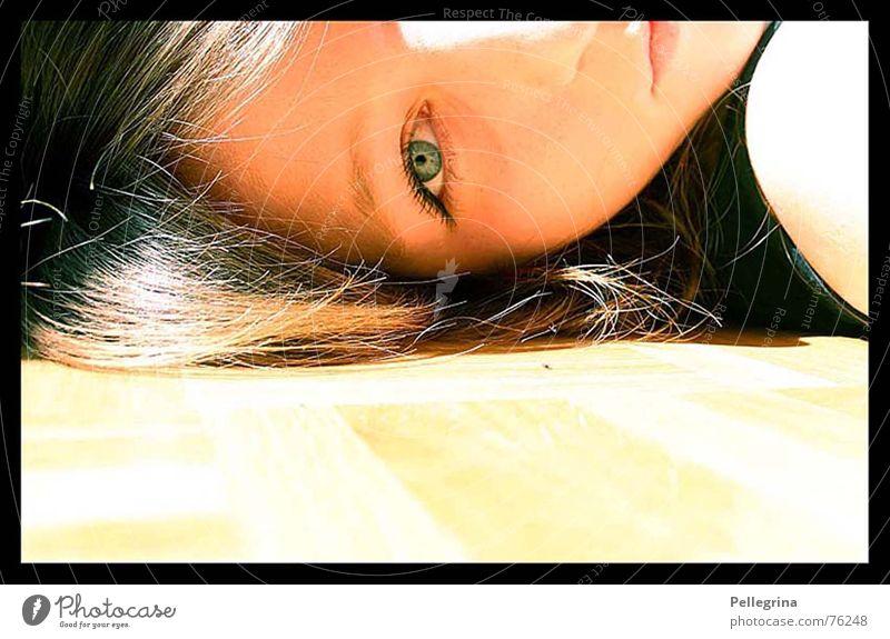 summerdream Summer Dream Portrait photograph Yellow Parquet floor Light Face Eyes Sun