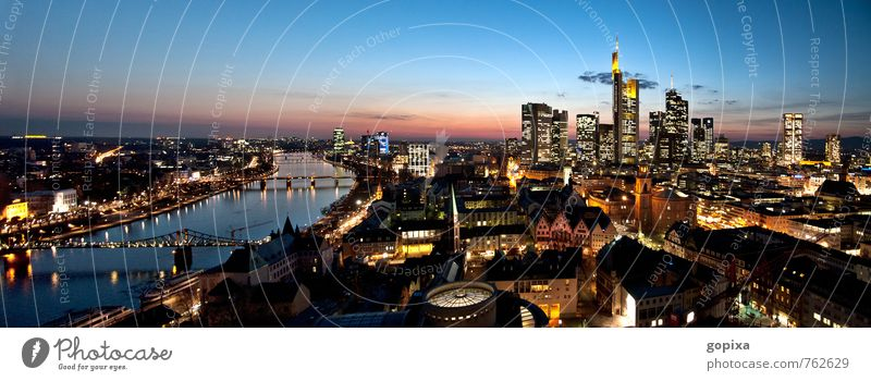 Frankfurt Panorama in the evening Sightseeing office Financial institution Business Architecture Sky Night sky River Main Germany Hesse Rhein-Main area Europe