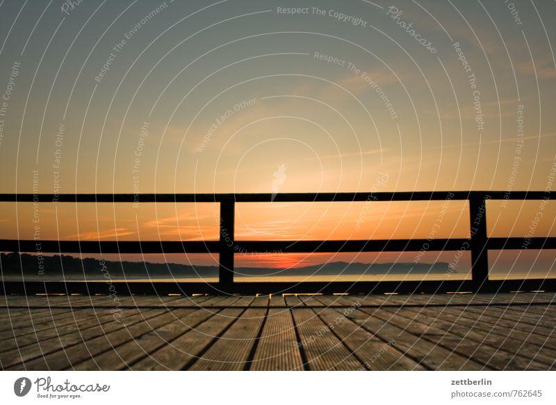 Sky Vacation & Travel Ocean Relaxation Calm Far-off places Horizon Island Bridge Handrail Baltic Sea Serene Footbridge Bridge railing Rügen
