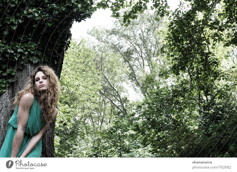 Human being Nature Youth (Young adults) Beautiful Green Tree Young woman Eroticism 18 - 30 years Forest Environment Adults Feminine Spring Hair and hairstyles