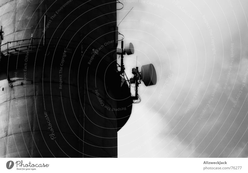 The eavesdropping attack Antenna Clouds Exterior shot Black White Radio technology Electronic wiretapping Listening Chimney Tower Sky Black & white photo