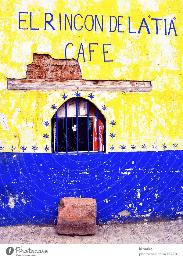 Old Blue Yellow Street Window Stone Characters Letters (alphabet) Kitsch Derelict Café Mexico