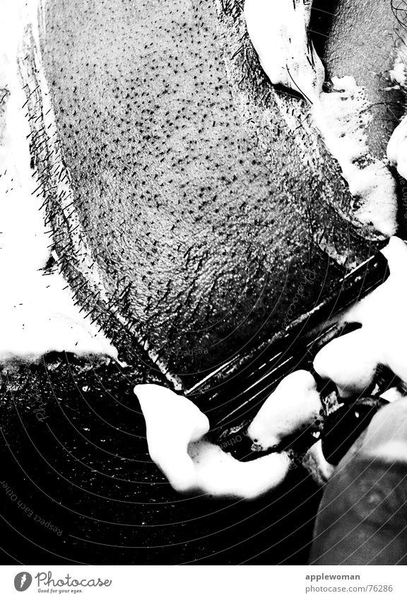Man White Line Going Fresh Ear Bathroom Cleaning Personal hygiene Cheek Foam Black & white photo Swing Forefinger Shave