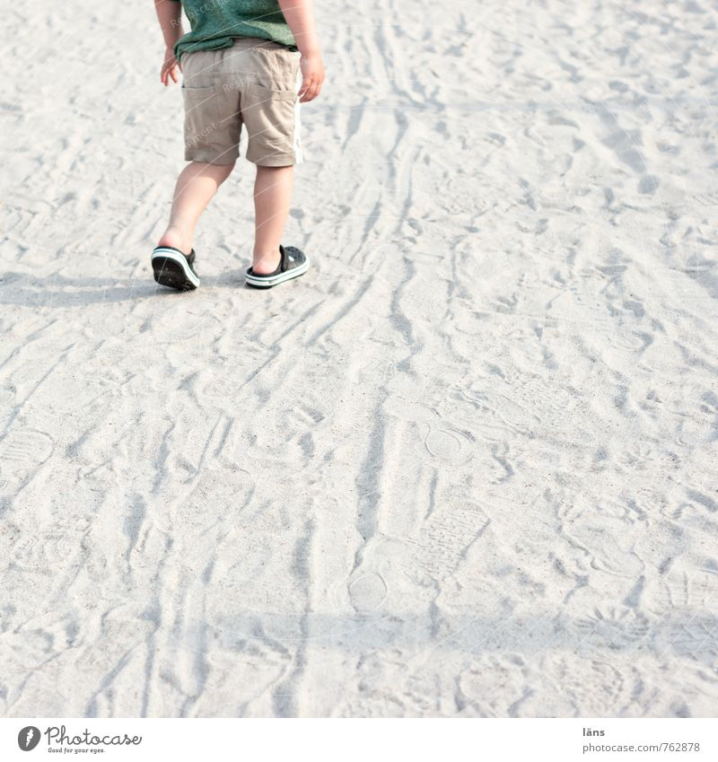 Human being Child Nature Summer Loneliness Landscape Beach Environment Movement Lanes & trails Coast Boy (child) Going Sand Masculine Infancy