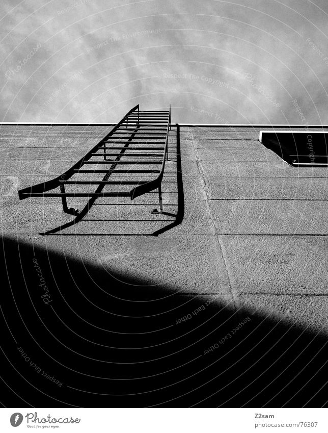 Stairway to heaven II Fire ladder House (Residential Structure) Wall (building) Facade Window Rung Geometry Simple Roller blind Sky stairway stairs Ladder Line