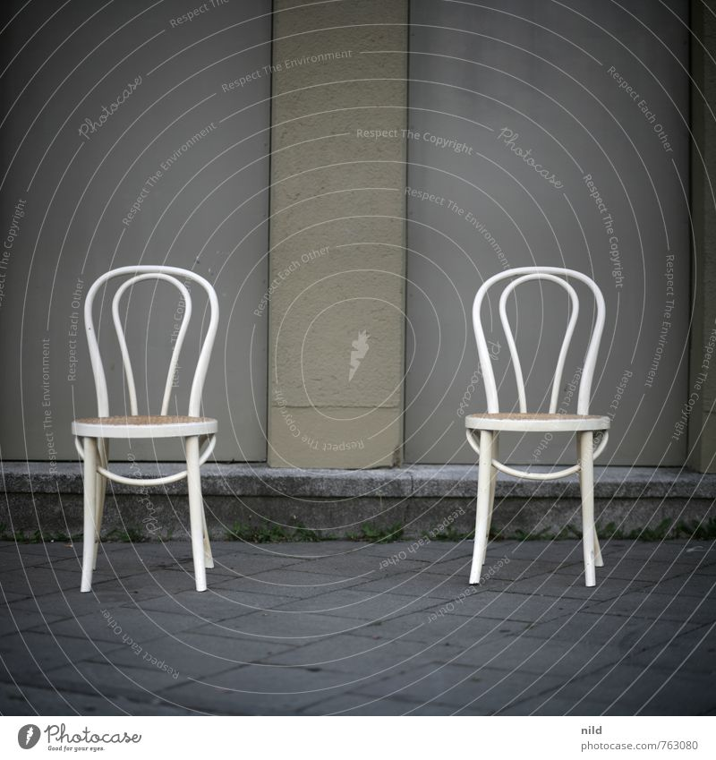 Two chairs - no opinion Flat (apartment) Moving (to change residence) Furniture Chair Deserted Wall (barrier) Wall (building) Stone Concrete Sit Together Gray