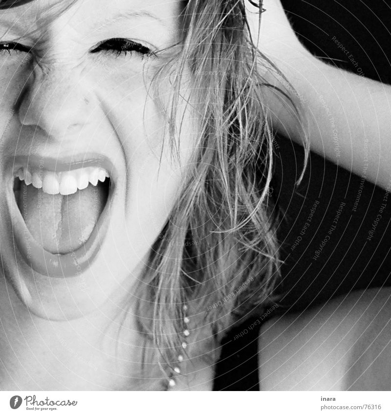 Scream Portrait photograph Black & white photo Pout Wrinkles Haircut