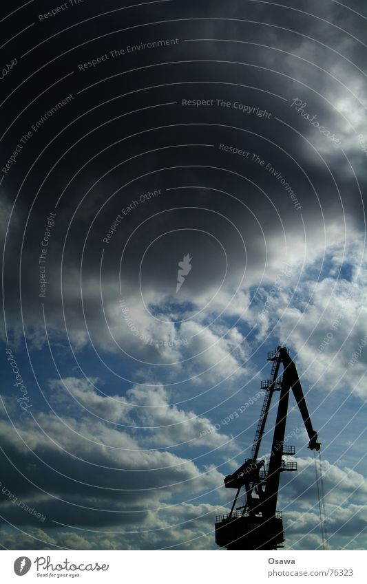 Sky Clouds Transport Logistics Harbour Crane Goods