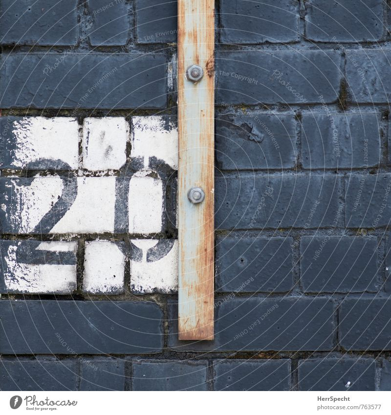 Old White Gray Digits and numbers Brick Rust Painted 20 London England Screw Brick wall Iron rod
