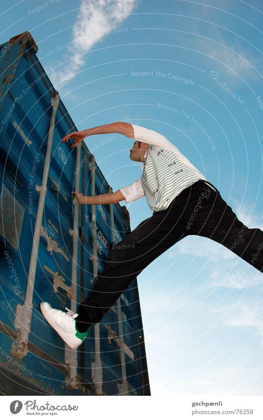 black grey white, cyan lll Black Gray White Cyan Man Jump Steep Ascending Clouds Tall Ladder Climbing Sky