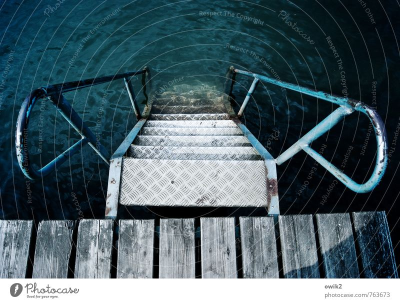 Nature Vacation & Travel Old Blue Environment Wood Swimming & Bathing Lake Metal Stairs Leisure and hobbies Beautiful weather Target Banister Under Footbridge