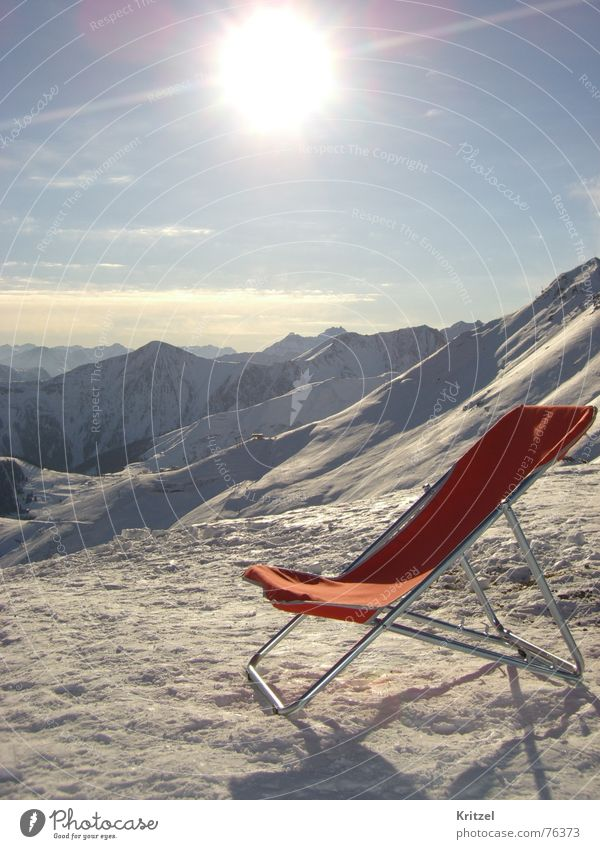 Sun chair on piste Winter Deckchair Vacation & Travel Mountain Ski run Alps