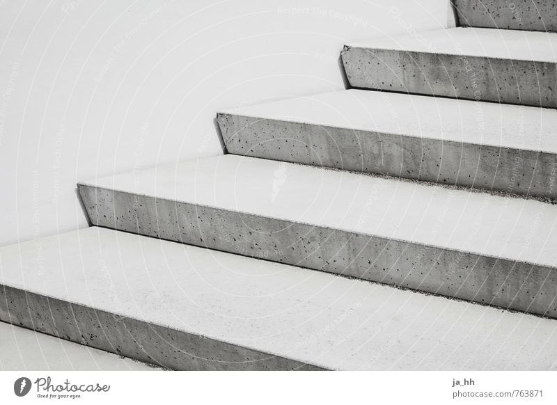 staircase Architecture Concrete Sharp-edged Cold Gray Success Beginning Perspective Symmetry leaders of life career ladder Stairs Career Construction site
