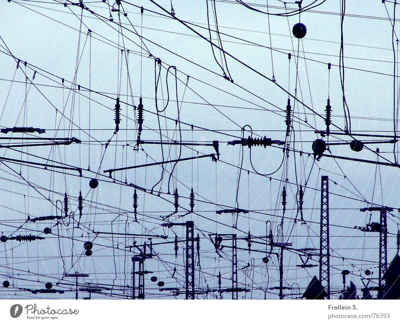 Homage to Miro Cable Sky Railroad Train station Esthetic Blue Black Terminal connector Transmission lines Wire Electricity Muddled Blue-black abstract art