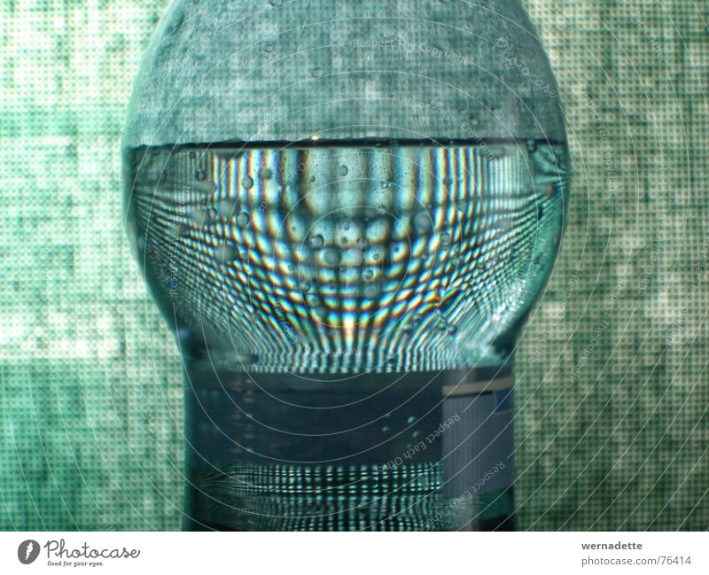 check bottle Drape Zoom effect Green Calm Interior shot Bottle Distorted Magnifying glass Water Checkered