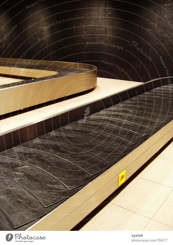 Vacation & Travel Black Wall (building) Metal Empty Floor covering Hope Tile Airport Curve Silver Iron Rubber Chrome Marble Departure lounge