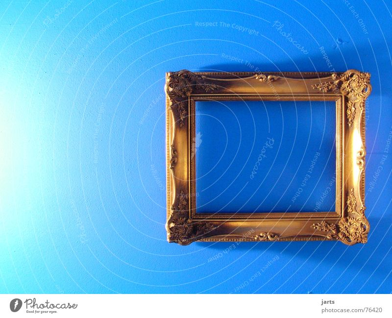 blue room Simple Picture frame Wall (building) Loneliness Empty Art Living or residing Arts and crafts  Blue Image Room Gold Old jarts
