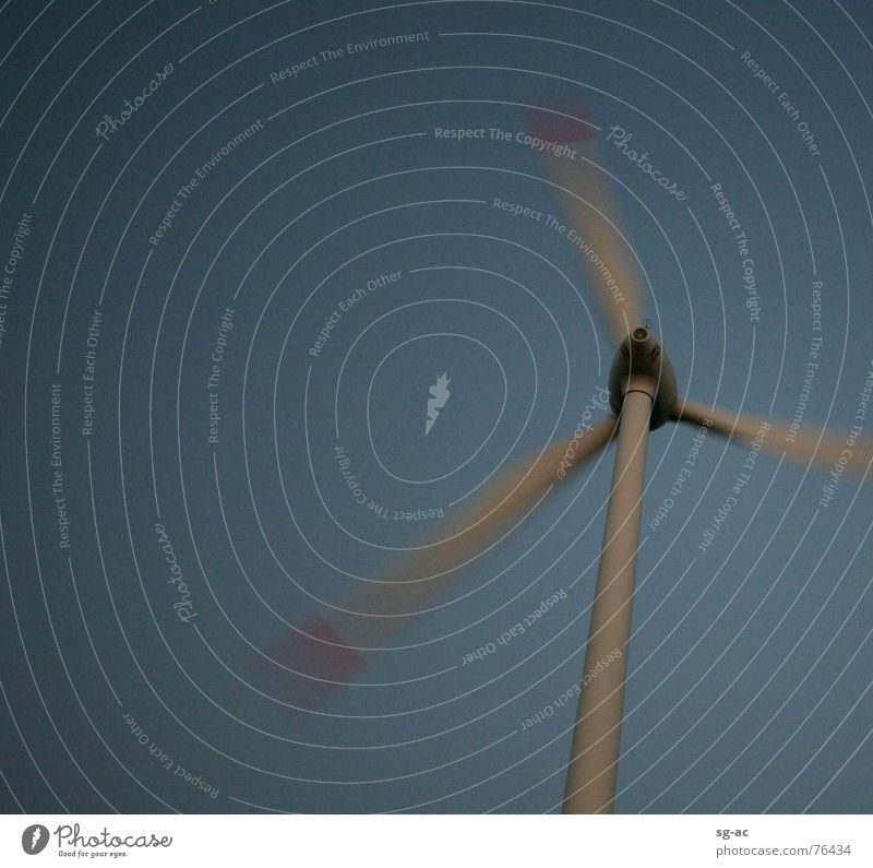 On the move Gray Red Night Wind energy plant Electricity Gale Rotor Sky Blue windmill Movement