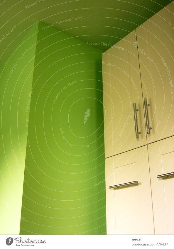 Green White Colour Wall (building) Architecture Modern Corner Kitchen Door handle Cupboard