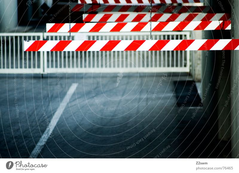 caution barrier Highway ramp (entrance) Tracks Barrier Factory Underground garage Industrial Photography Transport Red Control barrier Respect Handrail