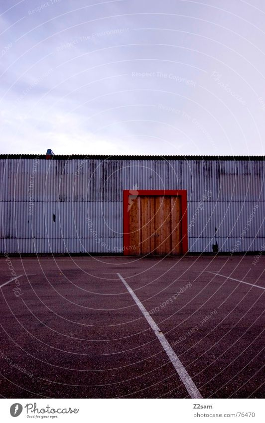 Sky White Blue Red Colour Wood Lanes & trails Building Warmth Line Orange Door Industrial Photography Factory Physics Gate