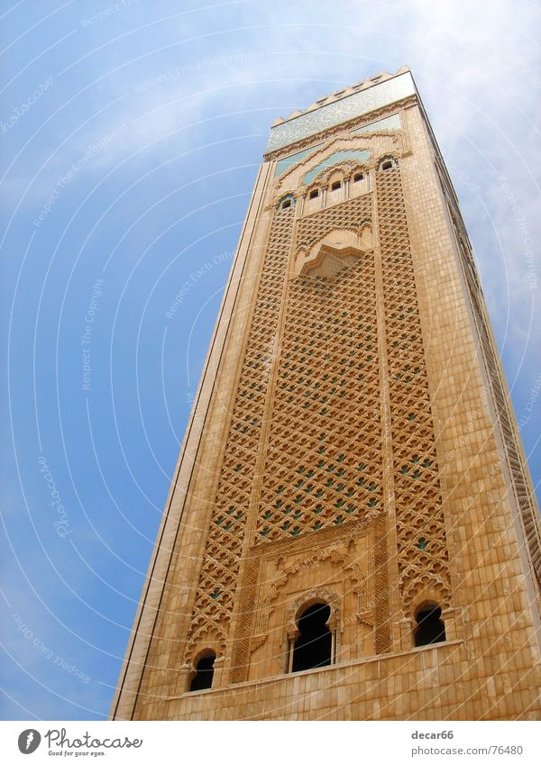 minaret Casablanca Moslem Religion and faith Islam Mosque morocco Arab holy magreb mosaic madrasa marble Blue Sky