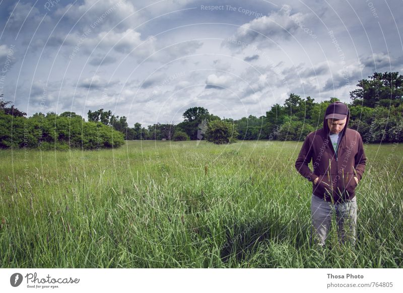 Man Blue Green Tree Landscape Calm Clouds Young man Environment Emotions Meadow Grass Gray Think Brown Clock