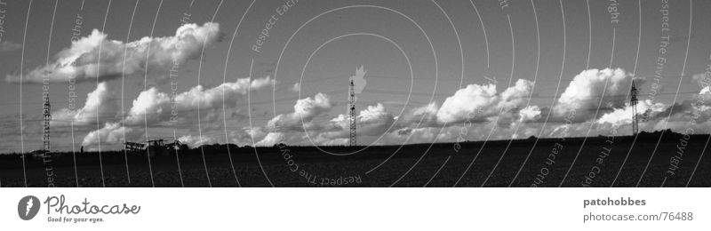 Nature Sky Clouds Work and employment Landscape Field Industrial Photography Farm Agriculture Electricity pylon Vehicle Tractor High voltage power line