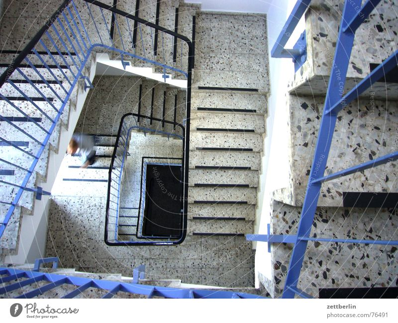 Human being Man Blue Stairs Handrail Staircase (Hallway) Upward Career Go up Downward Insolvency Landing Descent Granite Winding staircase Terracotta