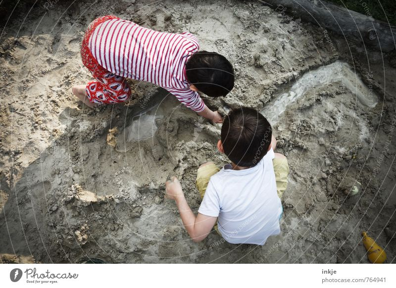 Human being Child Vacation & Travel Summer Girl Beach Life Boy (child) Playing Sand Friendship Together Family & Relations Earth Infancy Creativity