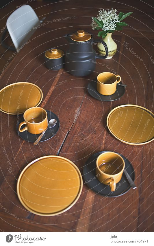set Crockery Plate Cup Spoon coffee service coffee covered Set meal Chair Table Wooden table Flower Leaf Blossom Bouquet Vase Coffee pot Esthetic Friendliness