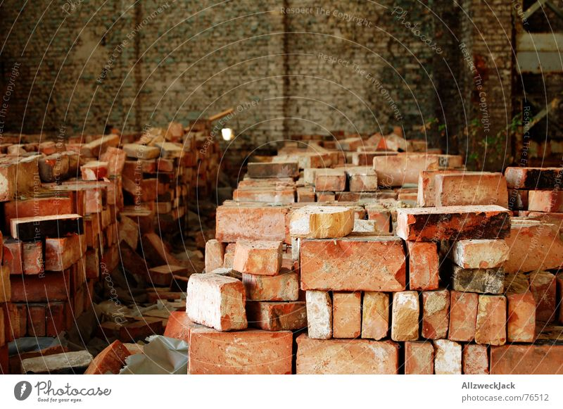 Old Red Stone Wall (barrier) Brick Warehouse Build Stack Dismantling Arrange Rip Pile of stones