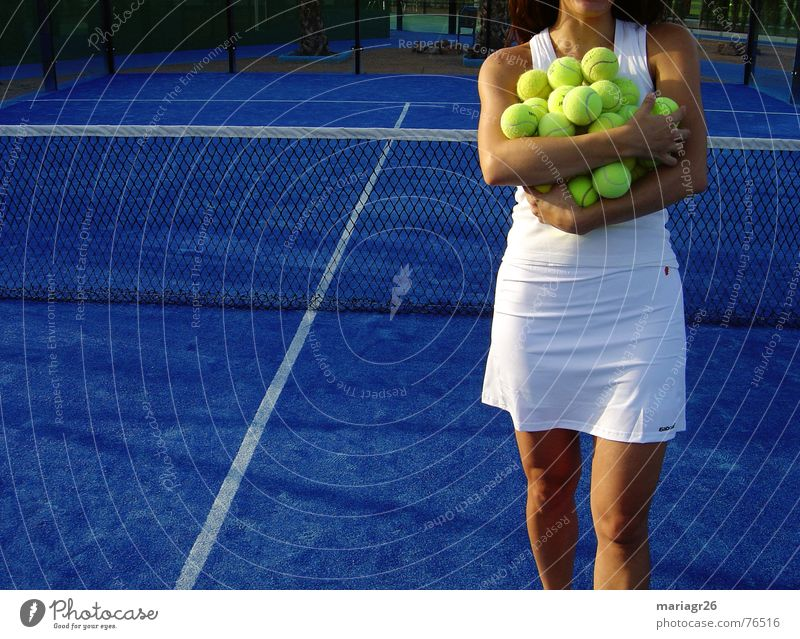 Woman White Blue Yellow Sports Ball Tennis